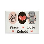 Peace Love Robots Rectangle Magnet (100 pack)