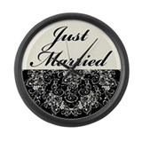 Black Floral Wedding Set Large Wall Clock