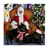 SCHIPPERKE DOGS SANTA CLAUS Tile Coaster