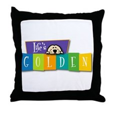 Life's Golden Retro Throw Pillow