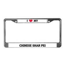 I Love My Chinese Shar Pei License Plate Frame