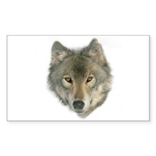 """Gray Wolf Face"" Rectangle Decal"