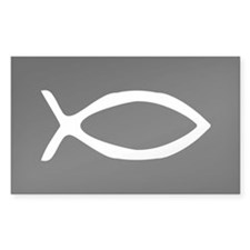 White Jesus Fish Rectangle Sticker 50 pk)