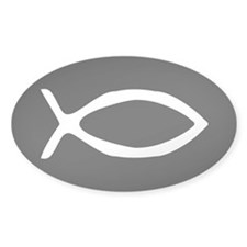 White Jesus Fish Oval Sticker (50 pk)