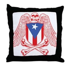 Puerto Rico Crossbones Throw Pillow