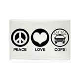 Peace Love Cops Rectangle Magnet