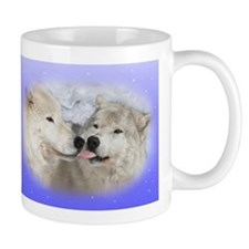 Kissing Arctic wolves mug