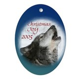 Howling Wolf Oval ornament