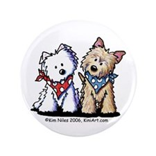 "Westie & Cairn Terrier 3.5"" Button (100 pack)"
