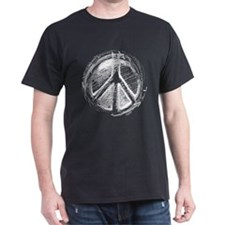 Urban White Peace Sign Sketch Black T-Shirt