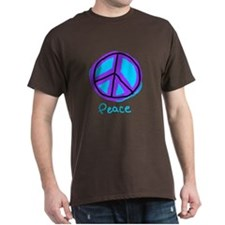 teal and Purple peace sign Black T-Shirt