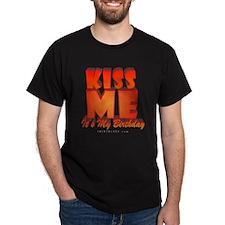 Kiss Me It's My Birthday Black T-Shirt