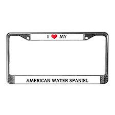 I Love My American Water Spaniel License Frame
