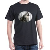 Black T-Shirt with Black Wolf head