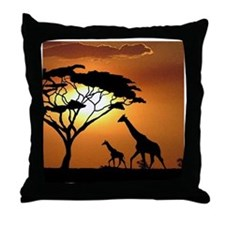 Giraffe Family Throw Pillow