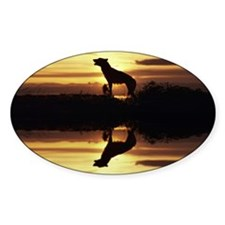 """""""Howling Wolf"""" Oval Decal"""