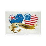 New Zealand/USA Flag_Our Family Rectangle Magnet