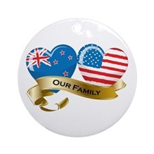 New Zealand/USA Flag_Our Family Ornament (Round)