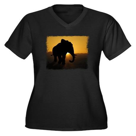 Bull Elephant Women's Plus Size V-Neck Dark T-Shir