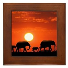Elephant Family Framed Tile