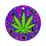 Psychedelic Pot Leaf Ornament