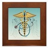 Caduceus and Stethoscope Framed Tile