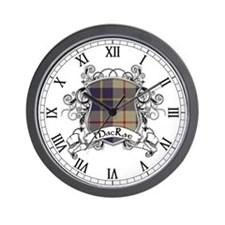 MacRae Tartan Shield Wall Clock