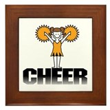 Gold Cheerleading Framed Tile