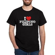 I Love Filipino Girls Black T-Shirt