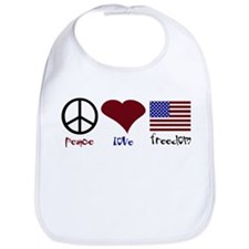 PEace Love Freedom Bib