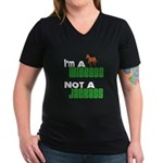 """Wiseass, Not Jackass"" Women's V-Neck Dark T-Shirt"