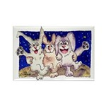 Full Moon Rabbits Rectangle Magnet
