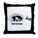 MERRY CHRISTMAS BOSTON TERRIER ANGEL Throw Pillow