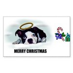 MERRY CHRISTMAS BOSTON TERRIER ANGEL Sticker (Rect
