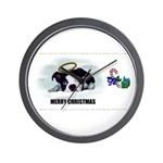 MERRY CHRISTMAS BOSTON TERRIER ANGEL Wall Clock