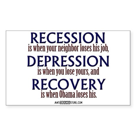 Recession, Depression & Recovery Sticker (Rectangl