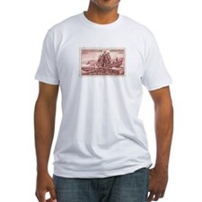 Lewis & Clark 3 Cent Stamp Fitted T-Shirt