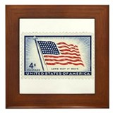 USA Flag 4 Cent Stamp Framed Tile