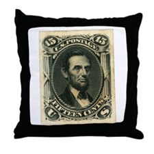 Abraham Lincoln 15-cent Stamp Throw Pillow