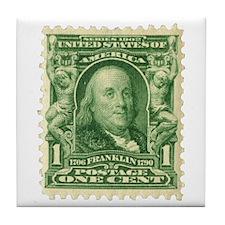 Ben Franklin 1-cent Stamp Tile Coaster