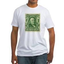 Ben Franklin 1-cent Stamp Fitted T-Shirt