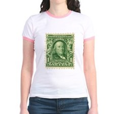 Ben Franklin 1-cent Stamp Jr. Ringer T-Shirt