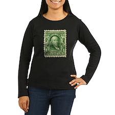 Ben Franklin 1-cent Stamp Women's Long Sleeve Dark