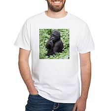 Relaxing Young Gorilla White T-Shirt