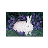 Mini White Rabbit Rectangle Magnet
