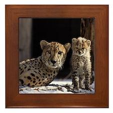 Mom and Baby Cheetah Framed Tile