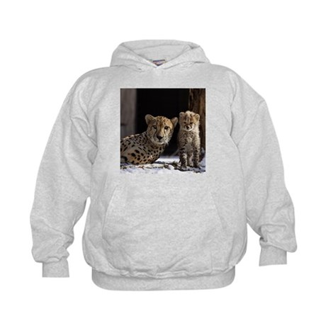 Mom and Baby Cheetah Kids Hoodie