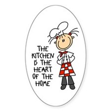 Kitchen Is The Heart Oval Sticker (50 pk)