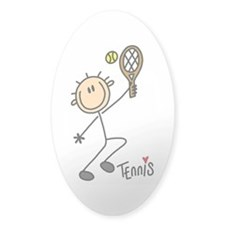 Tennis Stick Figure Oval Sticker (10 pk)