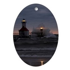 St Joe North Pier Lighthouses Oval Ornament